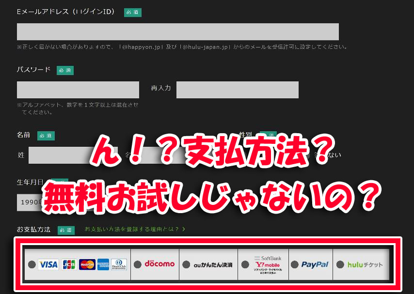 Huluの無料トラアイルで支払い方法と情報を入力する